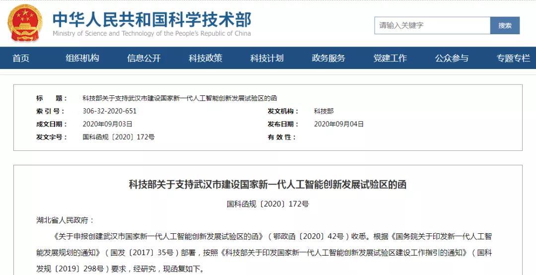 重磅!武汉市国家新一代人工智能创新发展试验区获批